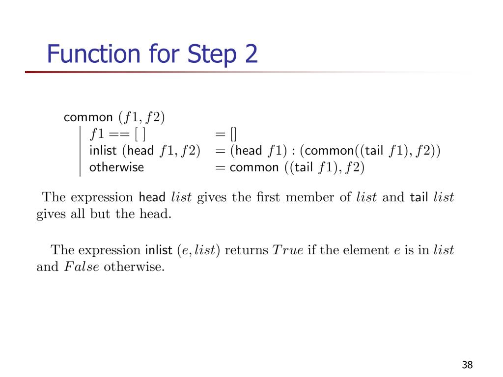 Function for Step 2
