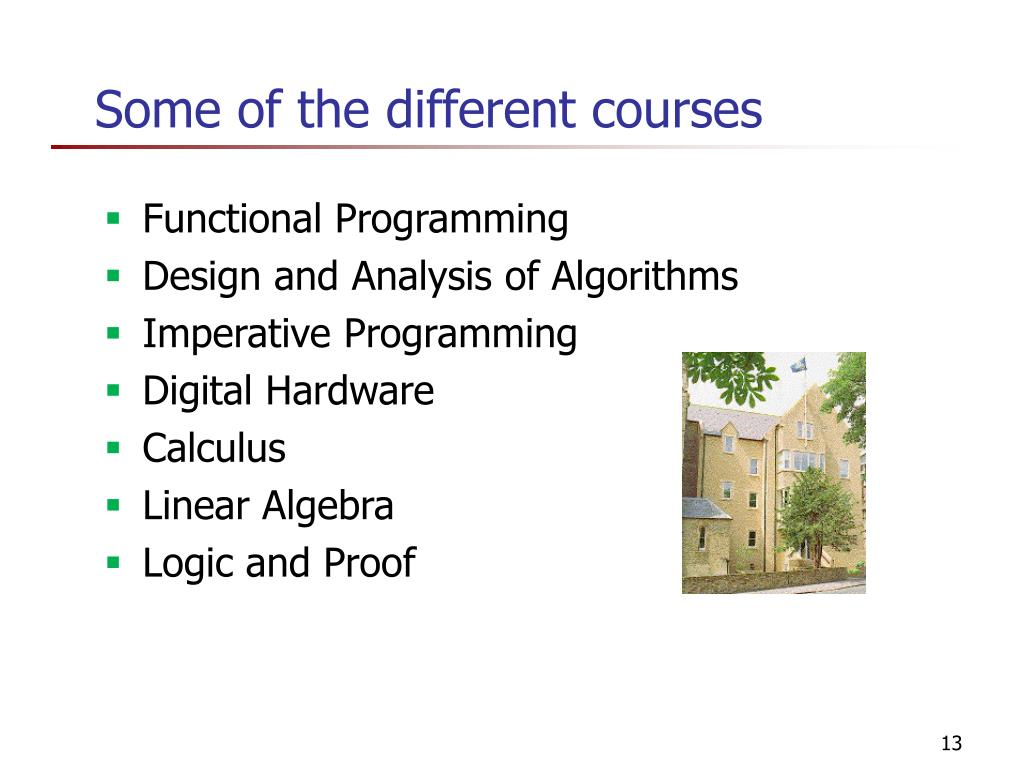 Some of the different courses
