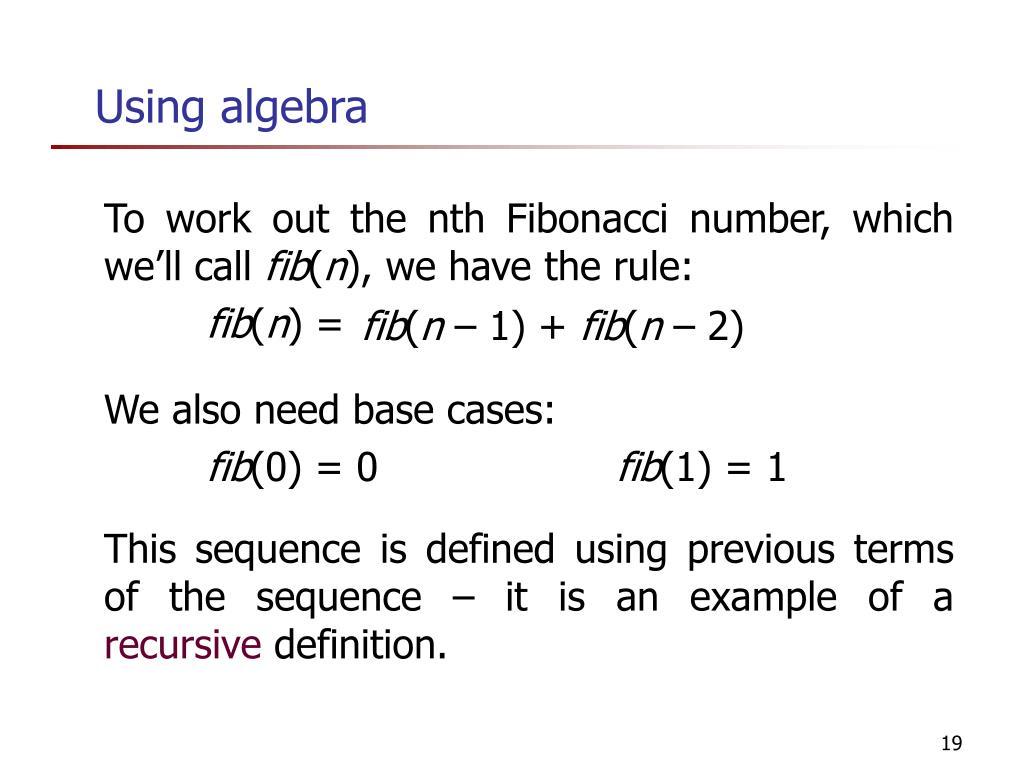 Using algebra