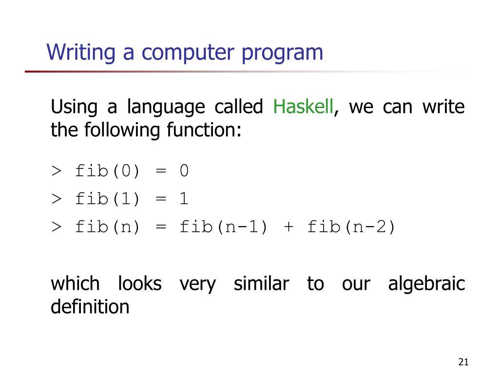 Writing a computer program