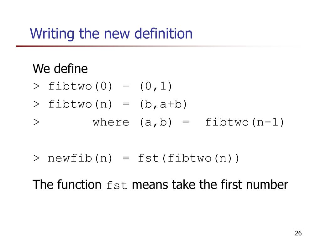 Writing the new definition