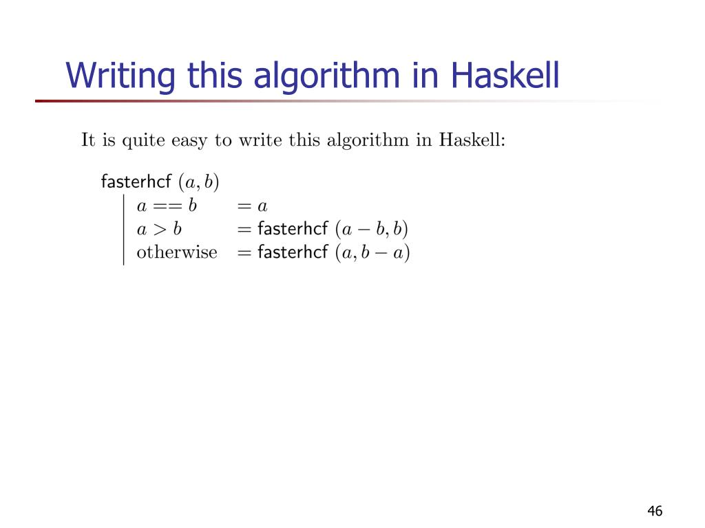 Writing this algorithm in Haskell