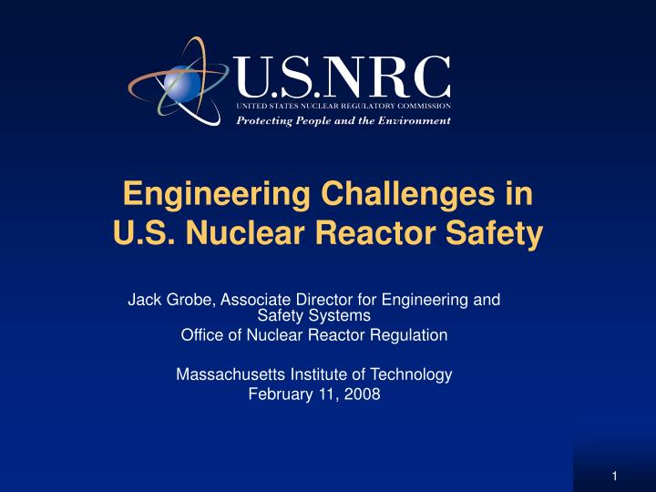engineering challenges in u s nuclear reactor safety n.