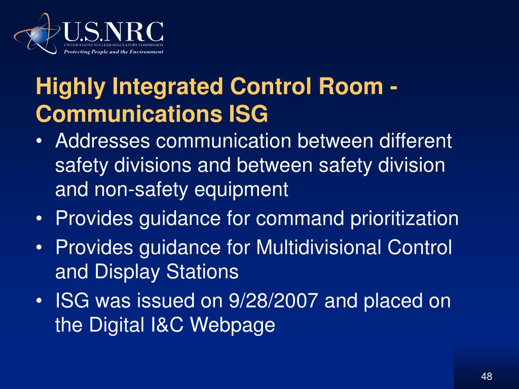 Highly Integrated Control Room -  Communications ISG