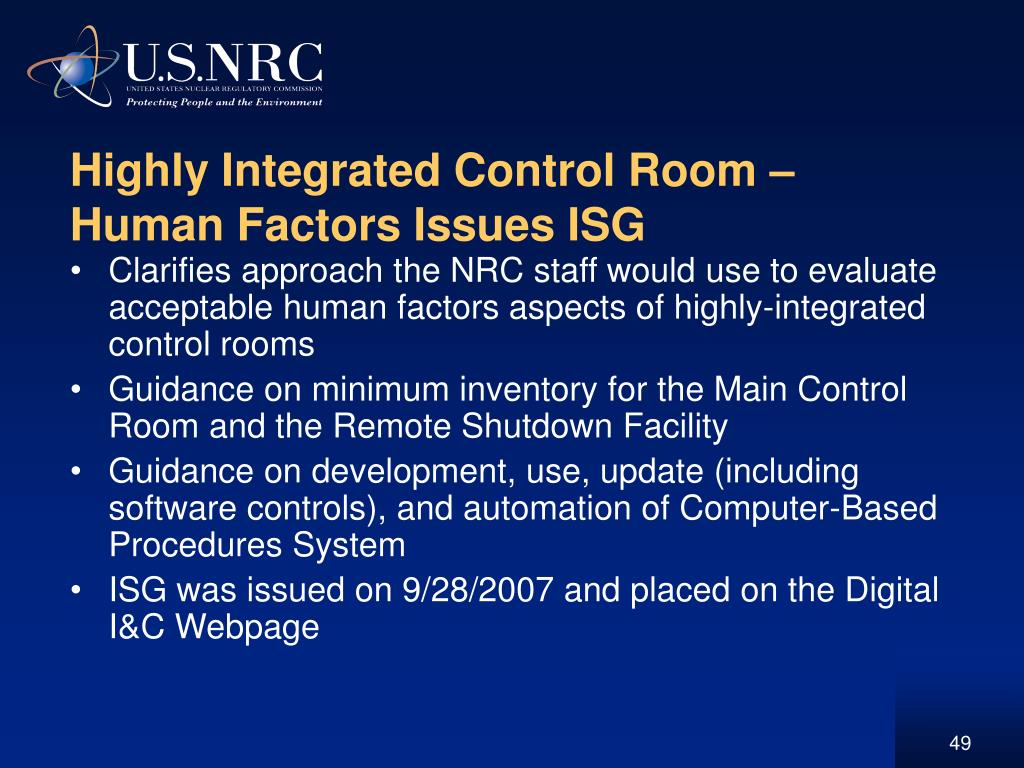 Highly Integrated Control Room – Human Factors Issues ISG