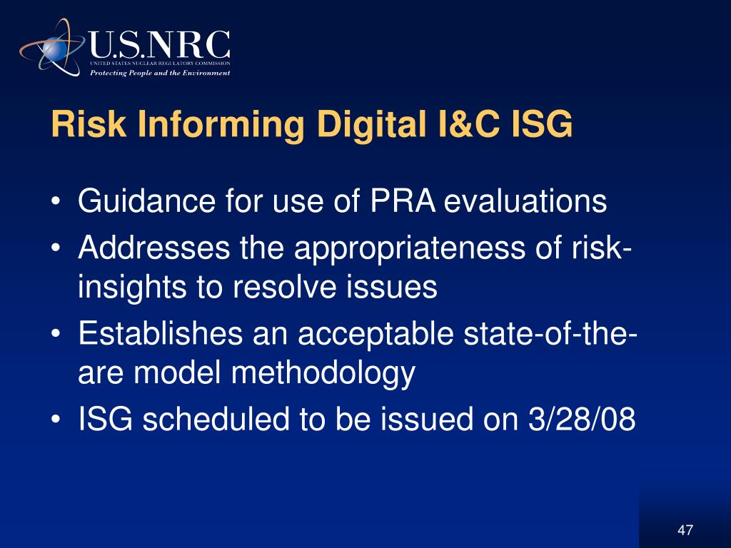 Risk Informing Digital I&C ISG