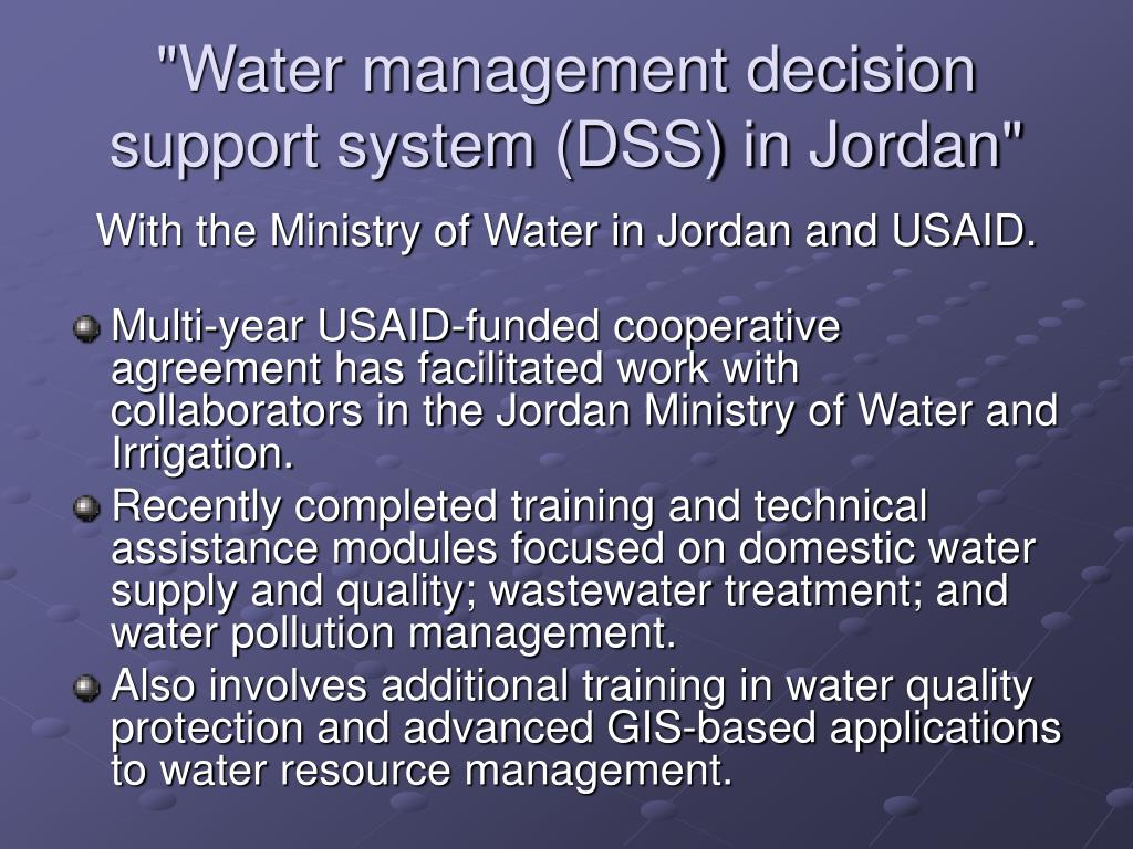"""""""Water management decision support system (DSS) in Jordan"""""""