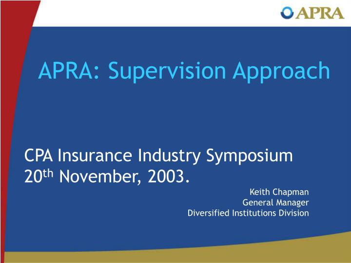 APRA: Supervision Approach