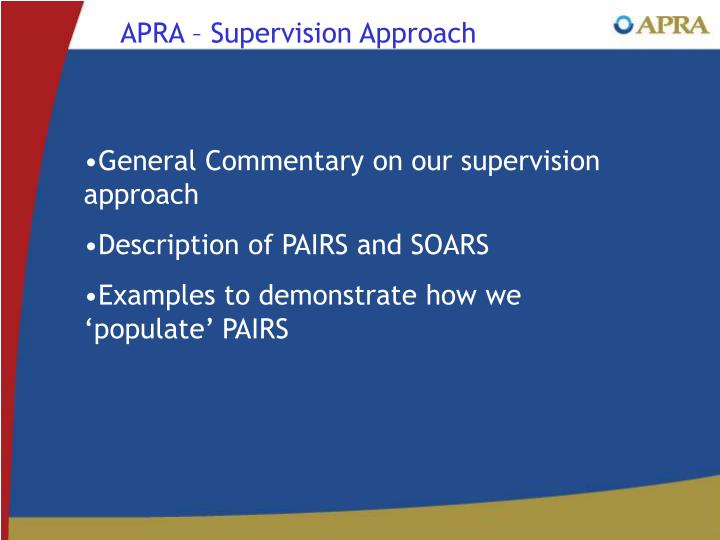 APRA – Supervision Approach