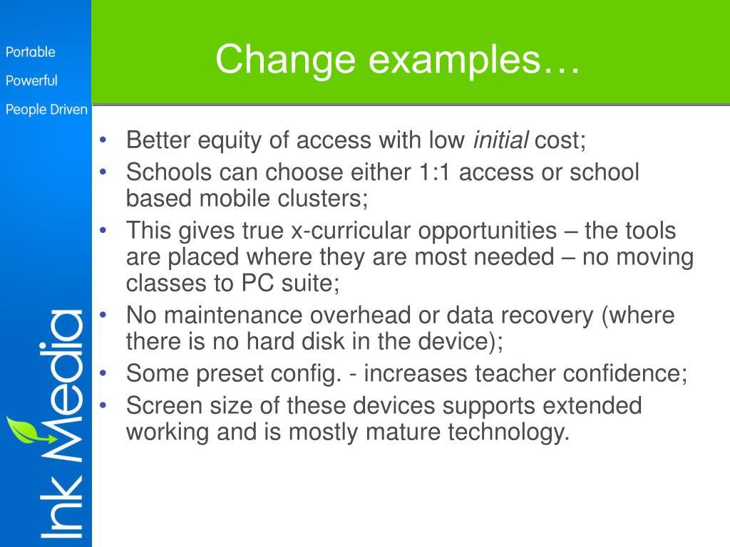 Change examples…