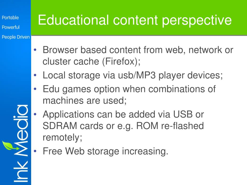 Educational content perspective