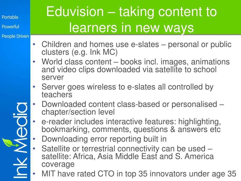 Eduvision – taking content to learners in new ways