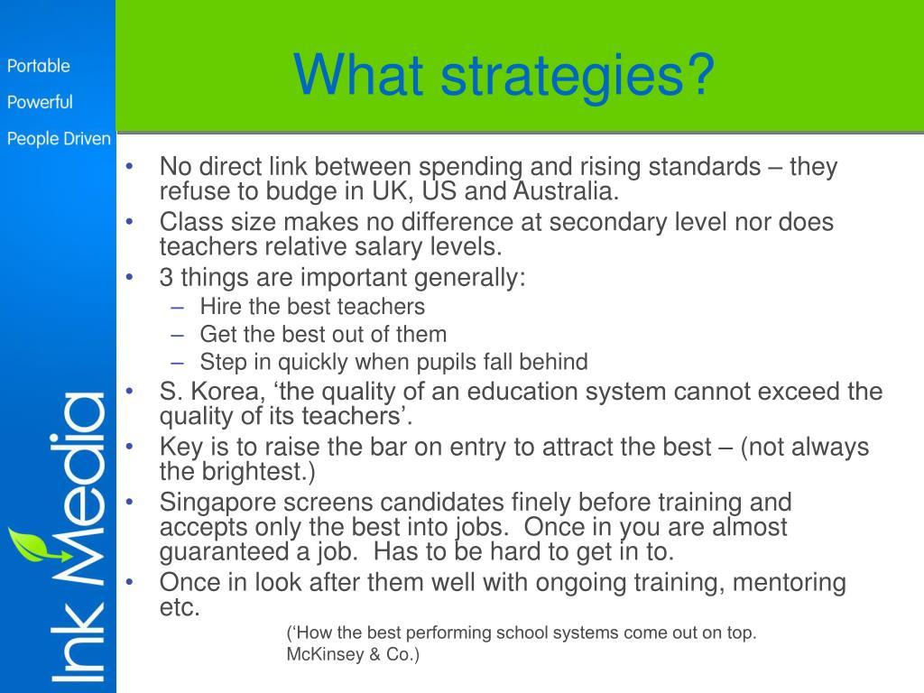 What strategies?