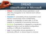 dread classification in microsoft