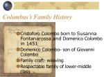 columbus s family history