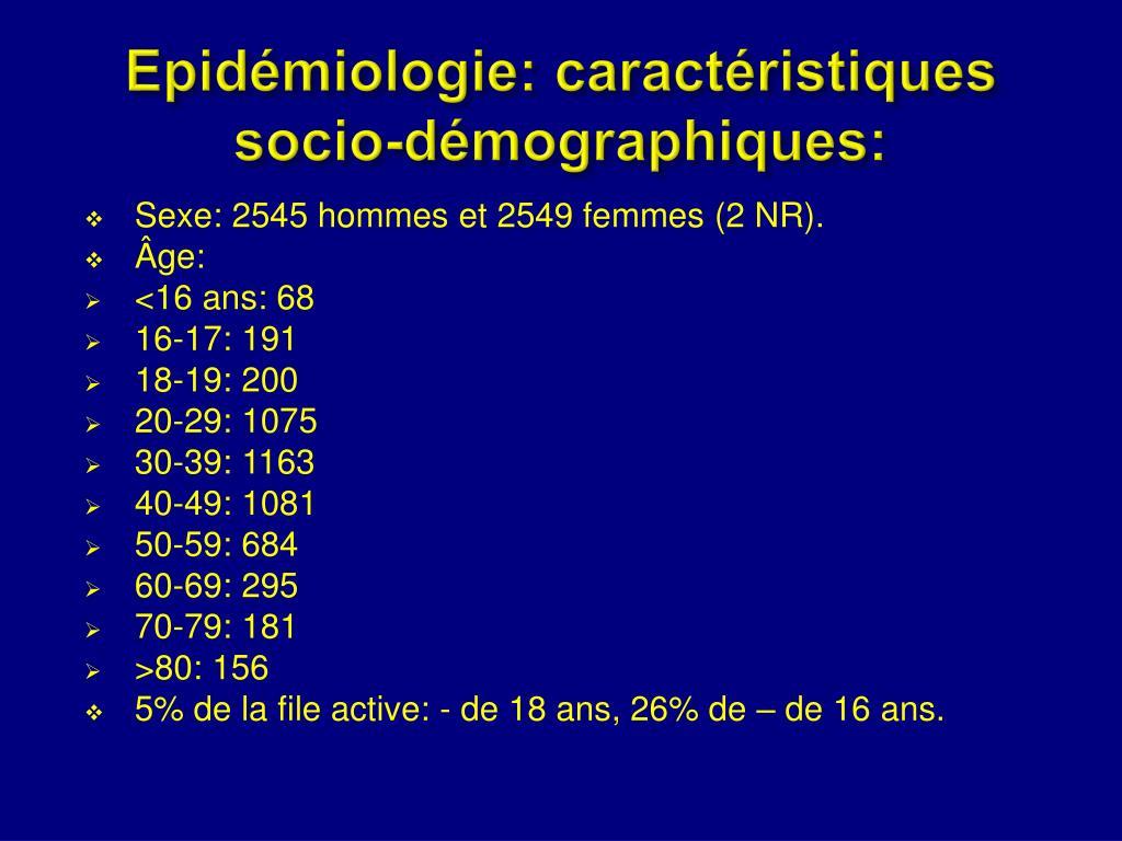 Epidémiologie: caractéristiques
