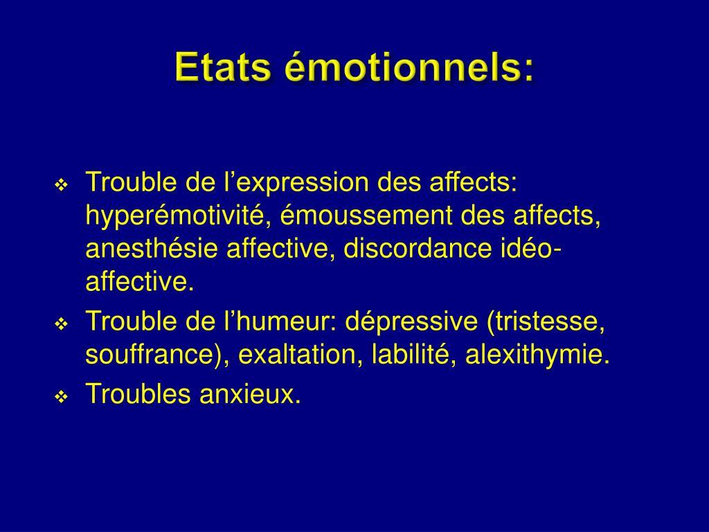 Etats émotionnels: