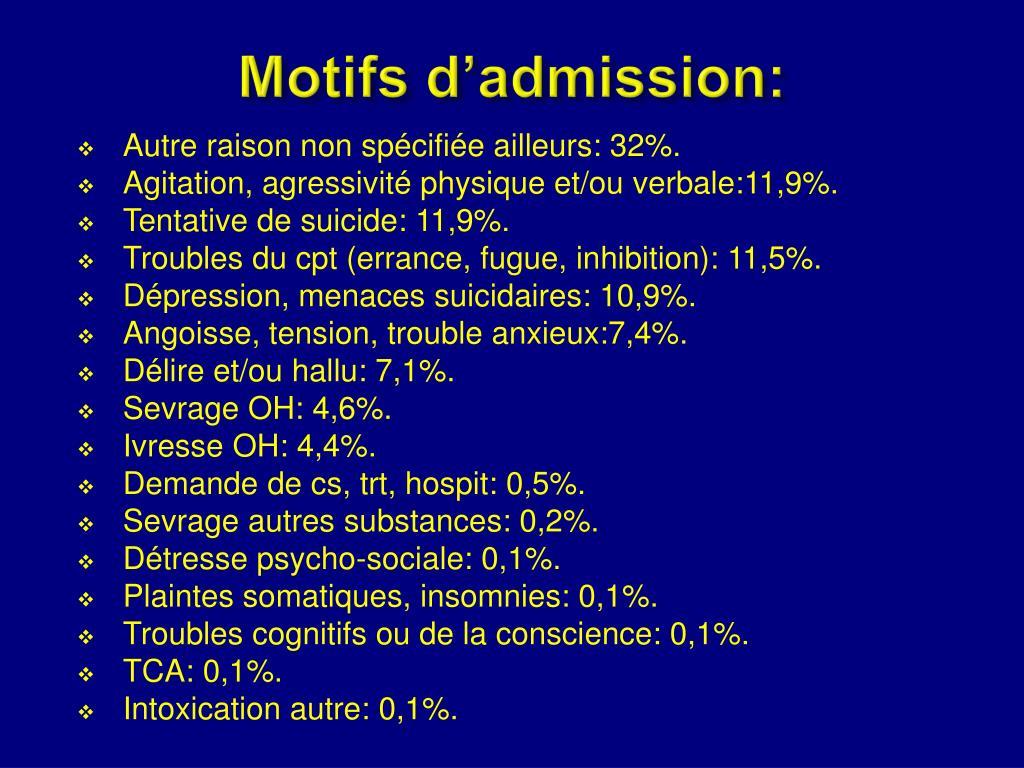 Motifs d'admission: