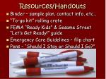 resources handouts
