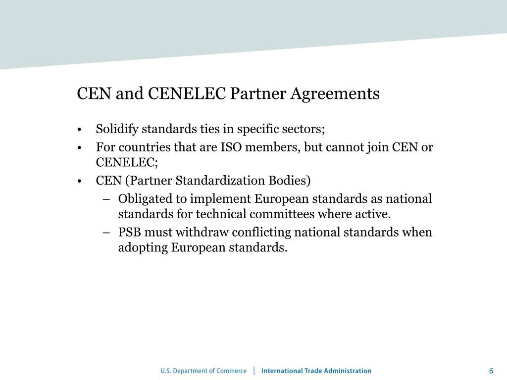 CEN and CENELEC Partner Agreements