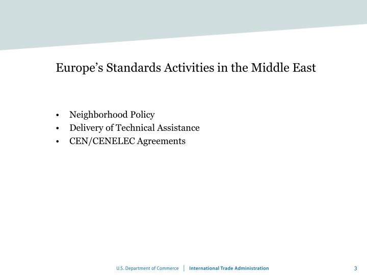 Europe s standards activities in the middle east