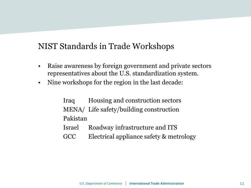 NIST Standards in Trade Workshops