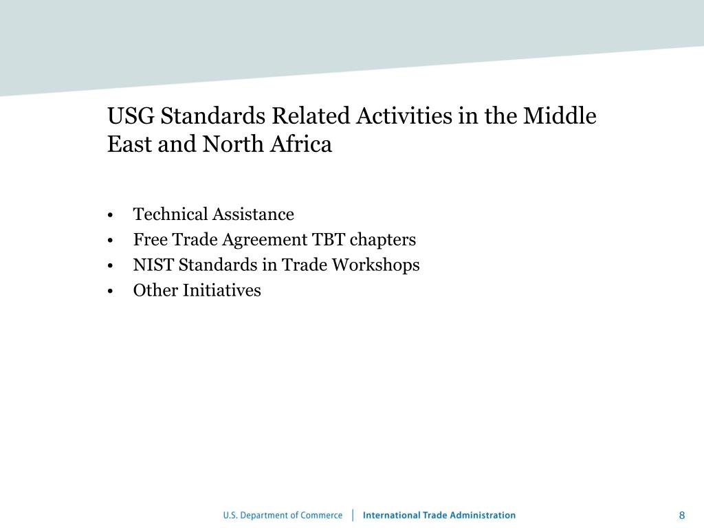 USG Standards Related Activities in the Middle East and North Africa
