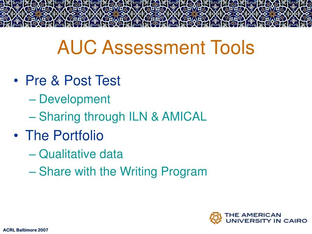 AUC Assessment Tools