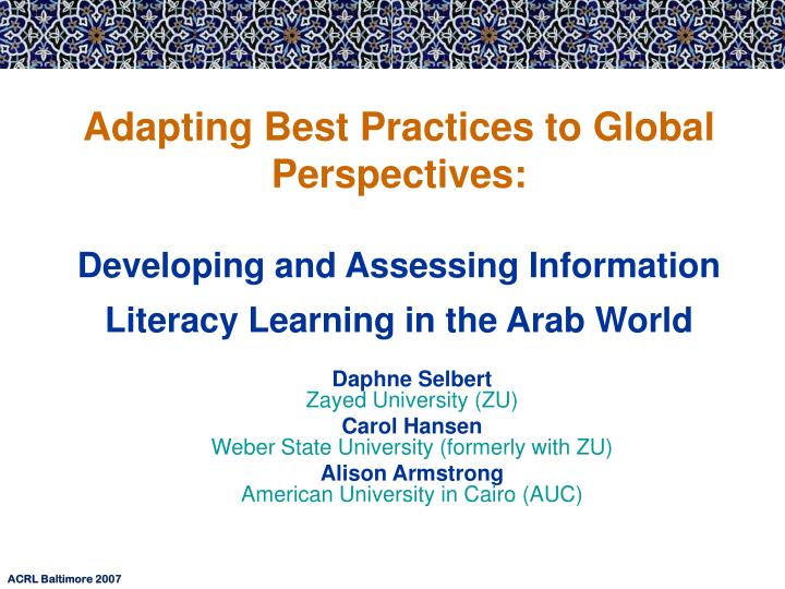 Adapting Best Practices to Global Perspectives: