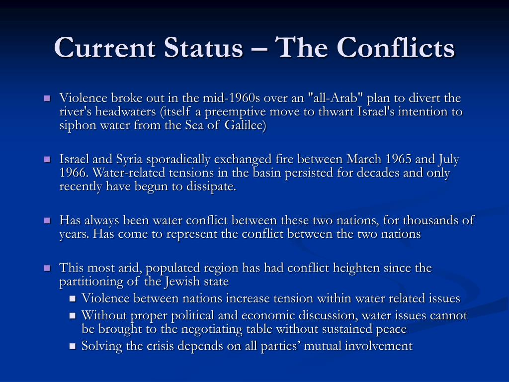 Current Status – The Conflicts