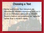 choosing a text