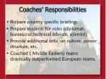 coaches responsibilities