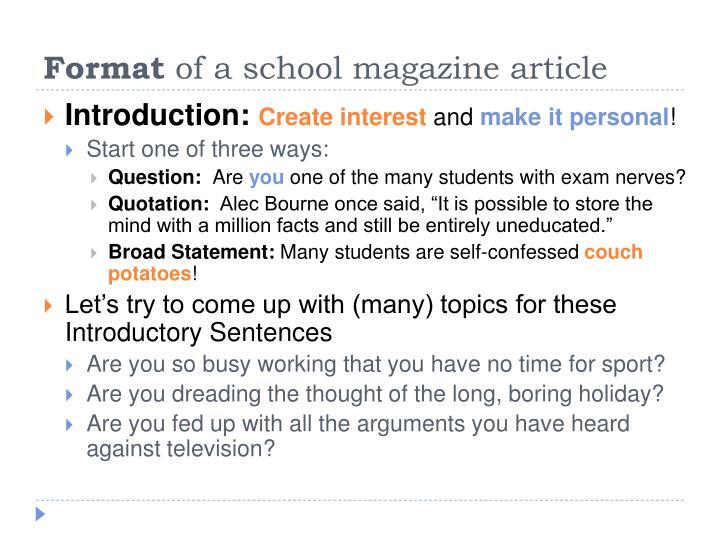 magazine articles format