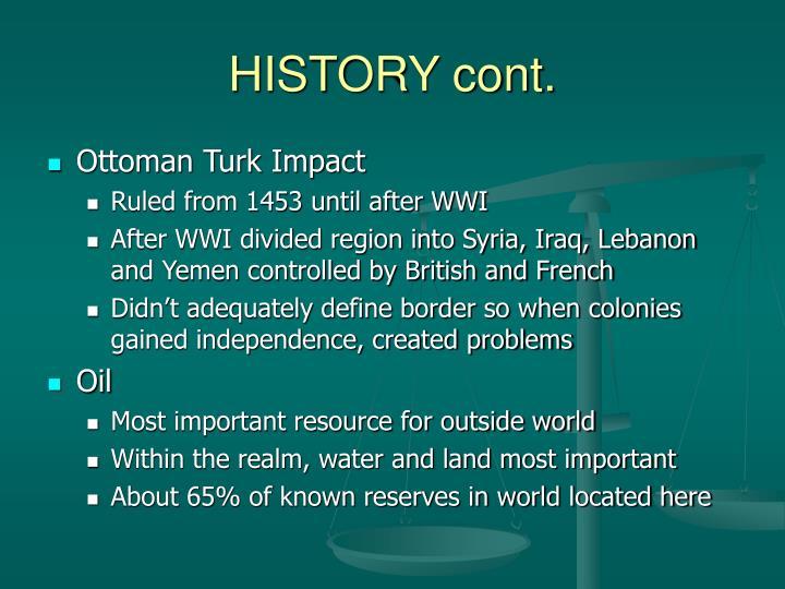 History cont