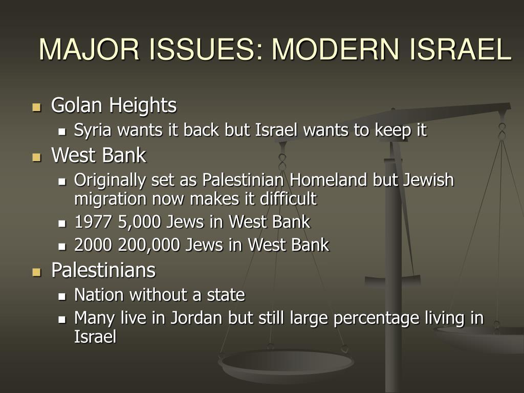 MAJOR ISSUES: MODERN ISRAEL
