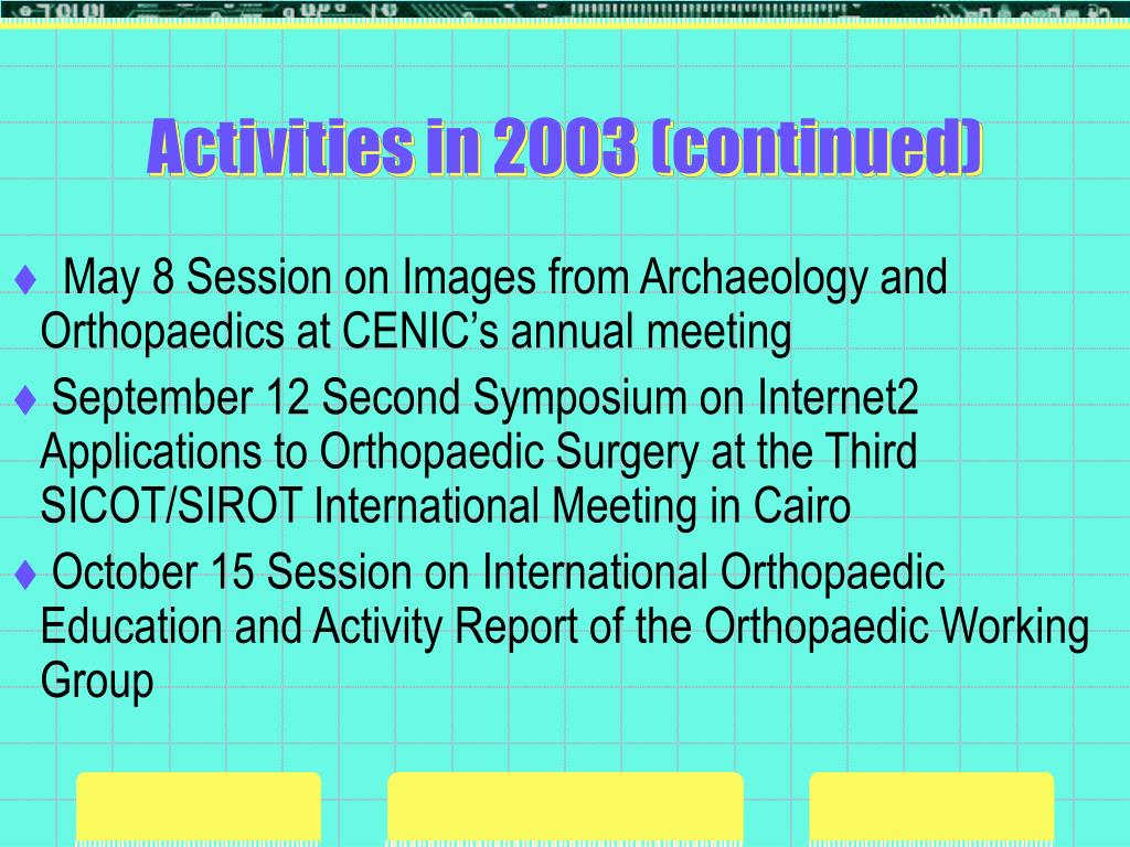 Activities in 2003 (continued)