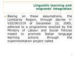 linguistic learning and migrants integration