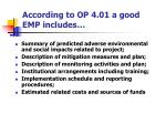 according to op 4 01 a good emp includes