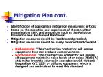 mitigation plan cont