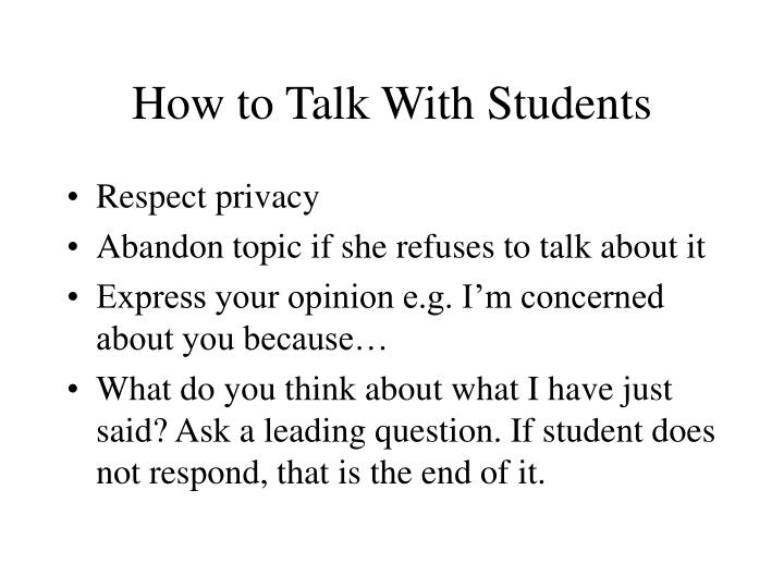 How to talk with students2