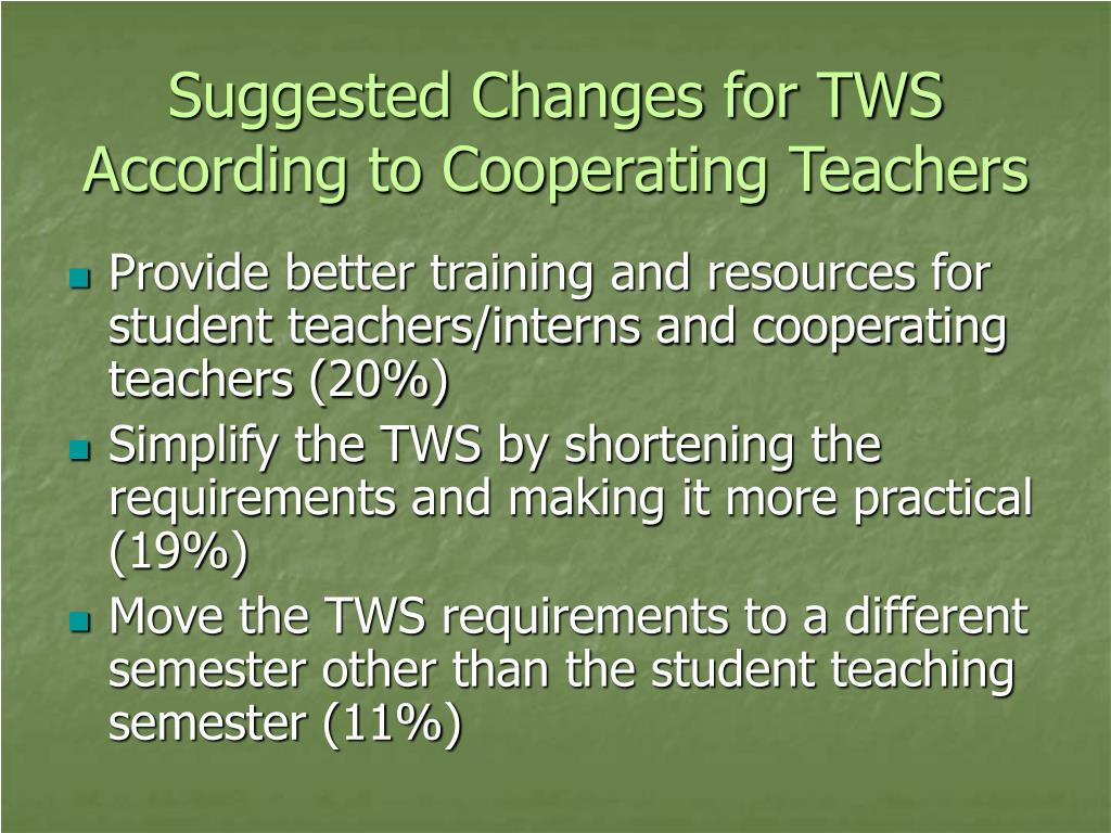 Suggested Changes for TWS According to Cooperating Teachers