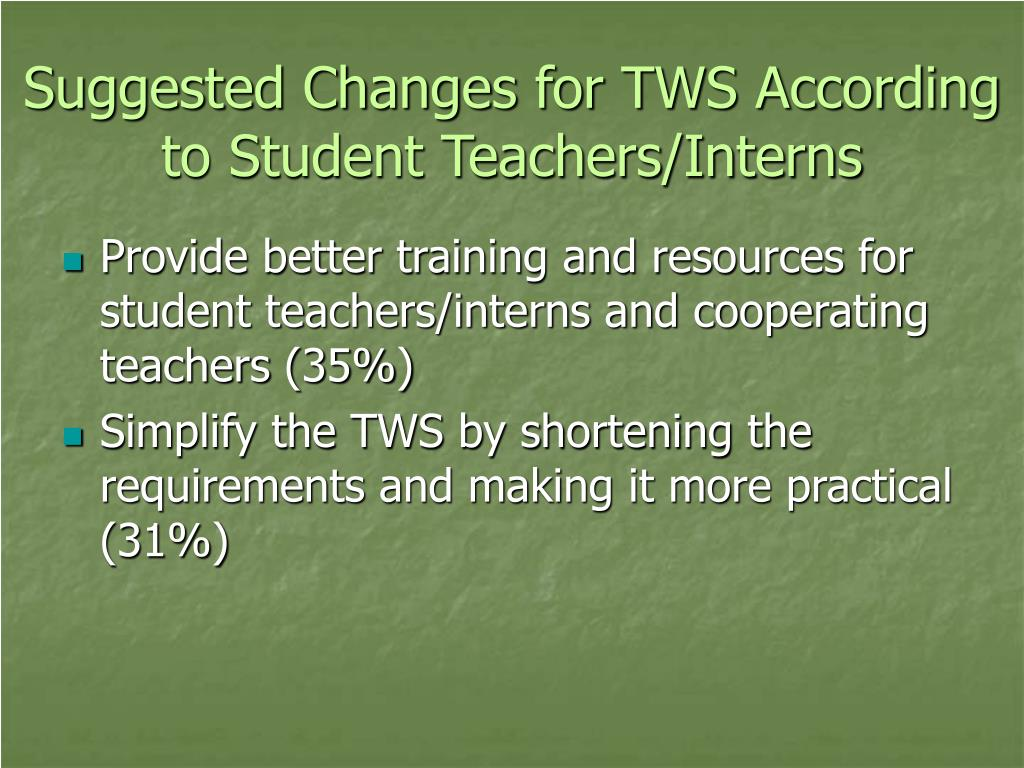 Suggested Changes for TWS According to Student Teachers/Interns