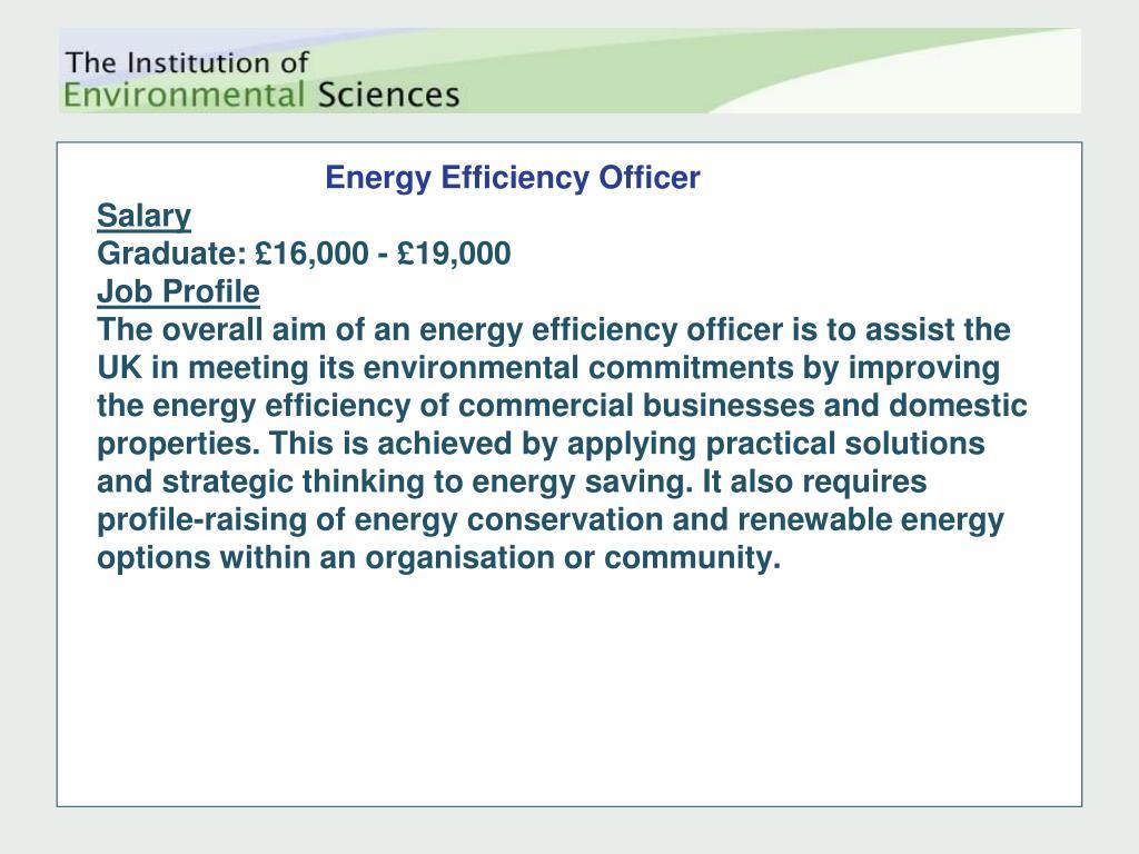 Energy Efficiency Officer
