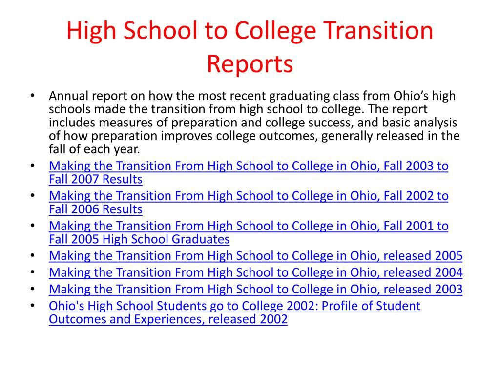 High School to College Transition Reports