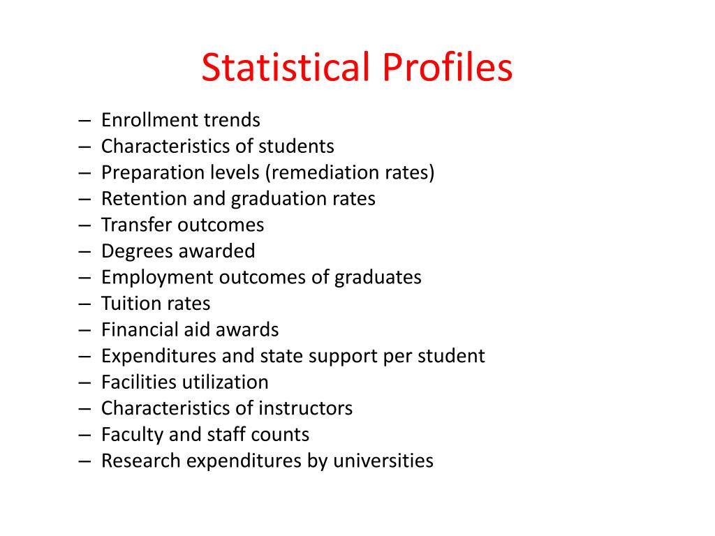 Statistical Profiles