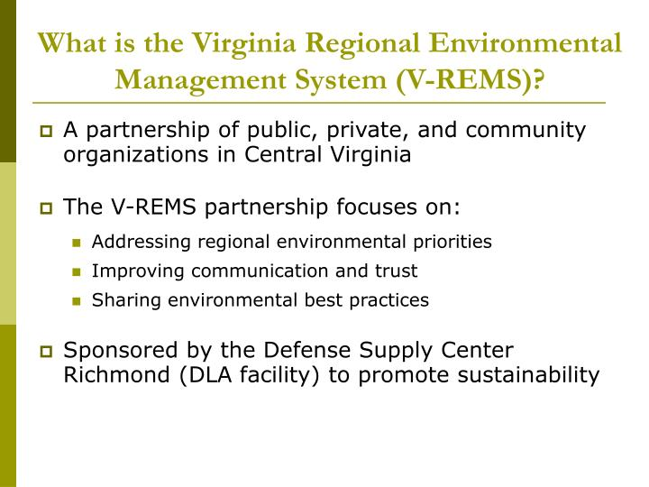 What is the virginia regional environmental management system v rems
