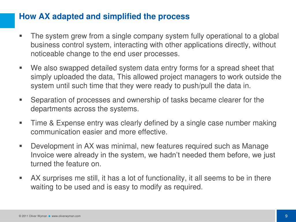 How AX adapted and simplified the process