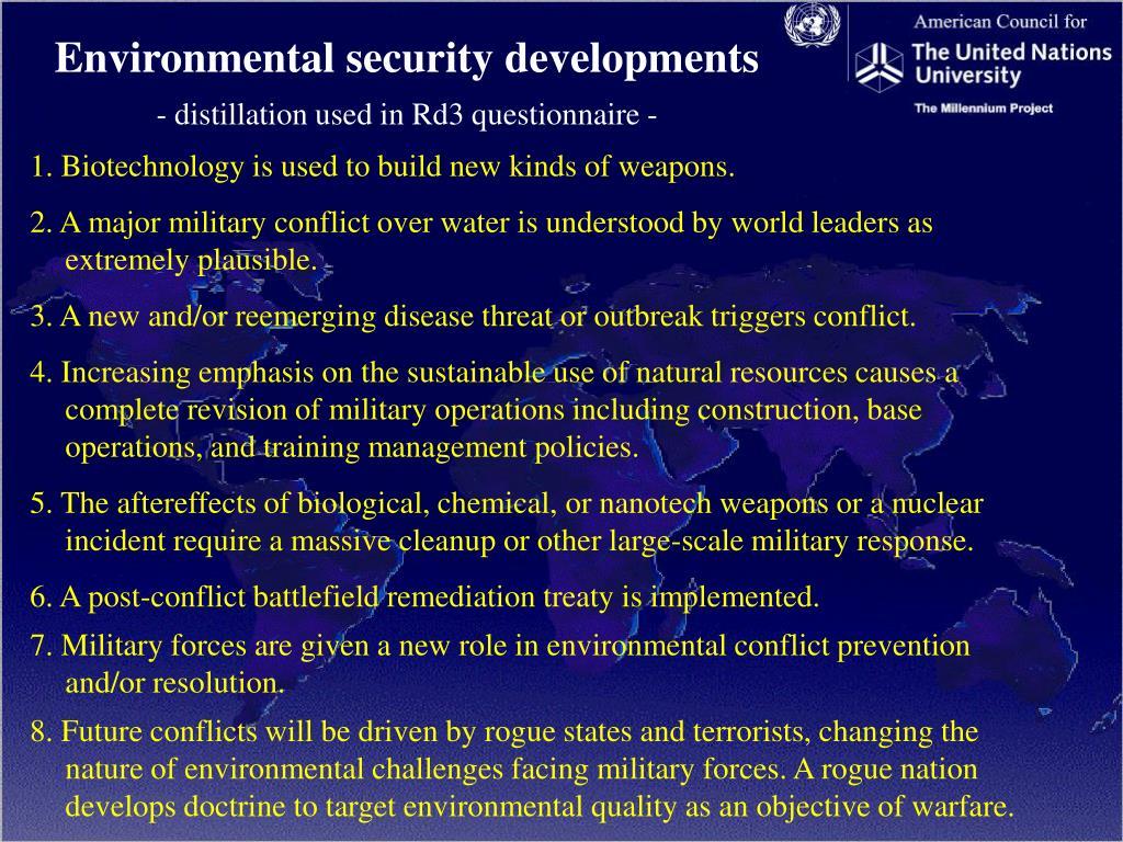 Environmental security developments