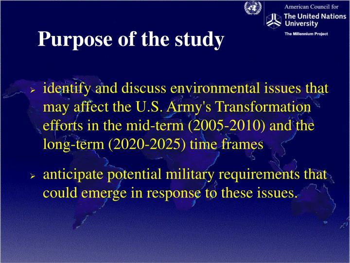 Purpose of the study