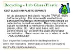 recycling lab glass plastic